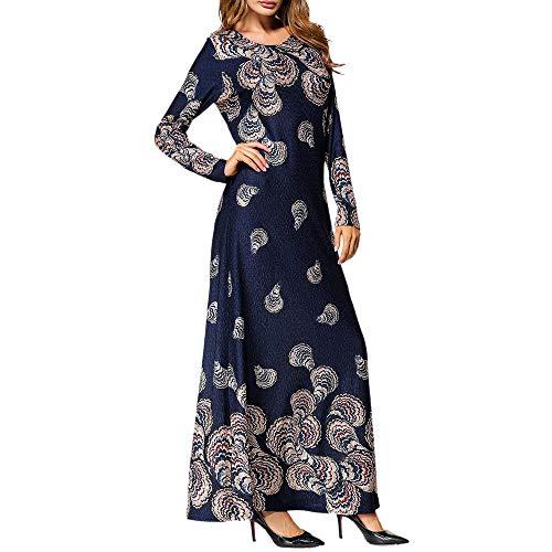 Vestito lungo donna estivo vestiti da donna casual lungo da donna etnico stile stampare lungo manica festa lungo maxi vestito accappatoio marina militare s