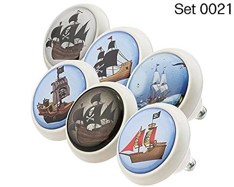 Designer Keramik Möbelknöpfe Set 0021 GH Kinder 6er - Möbelknauf, Kommode, Schublade, Schrank, Griffe, Porzellan, Kinder, Kinderzimmer