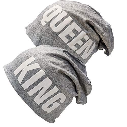 King & Queen Beanie Long Slouch Mütze Partner Look Wintermütze Baumwolle (King & Queen Grau Set)