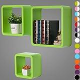 WOLTU RG9282gn Wandregal Schweberegale, 3er Set Lounge Cube Regal, Retro Bücherregal, MDF Holz, DIY zum Hängen, Grün