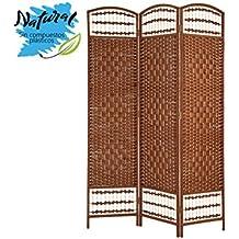 Biombo color Cerezo Bambú natural edición Country para decoración - Hogar y más - 3 paneles