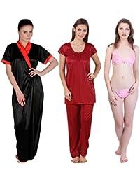 Freely Satin Full Robe, Nightsuit & Lingerie Set - 3 Pcs. Combo