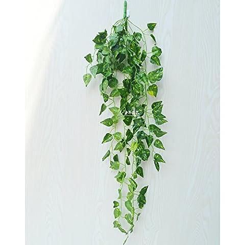 XMJR Wall decoration L'émulation en rotin au mur décoré de fleurs plantes vigne-shik vert mur de la nacelle Grape Leaf Green leaf coco fleurs artificielles escalade tiger avec un paquet de feuilles de coco verte