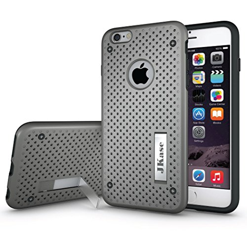 JKase MESH Hybrid Umrahmung Harte 2 Schichten Case Hülle TPU Innencase Mit Seitenständer für Apple iPhone 6S / iPhone 6 (Lila) Grau