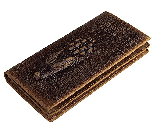Everdoss Mens Bifold Wallet Clutch Genuine Leather Purse Card Holder with Crocodile Pattern Brown -
