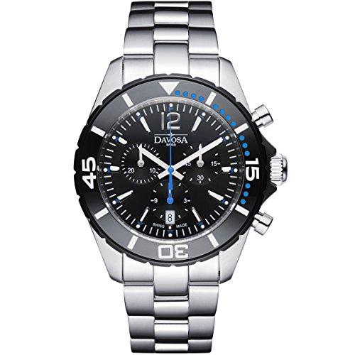 Davosa Suisse Nautic étoile Chrono 16347345Homme montre bracelet en acier inoxydable, Noir