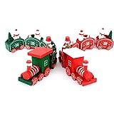 Decorazione di Natale Legno Treno Anvor Ornamento di Natale di Natale 2  Pezzi (Rosso e a3264cd39935