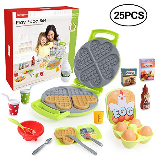 BeebeeRun 25 Stück Lebensmittel Spielzeug, Küchenspielzeug für Kinderküche, Kinder Rollenspiele Spielzeug Lernspielzeug für Kleinkinder Jungen Mädchen Kinder