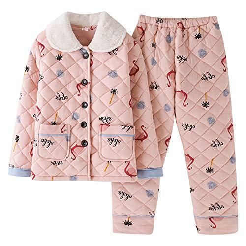 Mmllse Herbst Und Winter Dicken Gesteppten Pyjamas Frauen Dicken Und Schönen Großen Anzug XXL