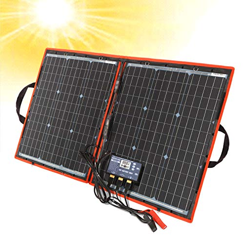 DOKIO 80W Tragbare Falten Monokristalline Solarpanel Kit zum Aufladen 12 V Batterie mit Controller Usb Ausgang Wasserdicht für Camping Wohnwagen