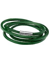 Urban Male - Bracelet lacet en cuir vert, pour hommes.