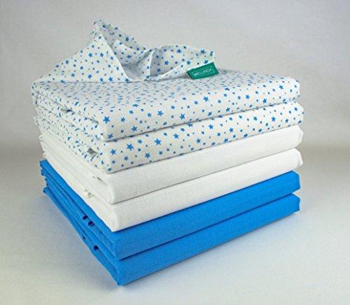 Mulltücher   Mullwindeln   Spucktücher - 6er Pack   80x80 cm - 2 blau, 2 blau star, 2 weiß   Schadstoffgeprüft - Öko-Tex Standard 100   kochfest bei 95° C   Moltontücher   Baumwolltücher