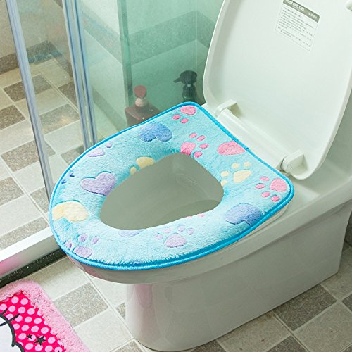 WEIAIXX El Precioso Kit De Baño Wc Invierno Magic Ring Pegar Sentarse Hay Mat Baño Wc Baño Calefactor De Cojín De Asiento Cushion Blue
