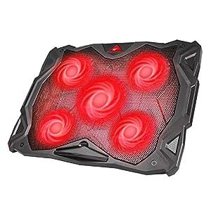 Base Refrigeracion Portatil Ventilador Portátil Cooler Fan Refrigeracion Gaming con 5 Ventiladores Silenciosos y 2 Puertos USB, para Computadoras Portátiles de hasta 17 (F2068) (Rojo)