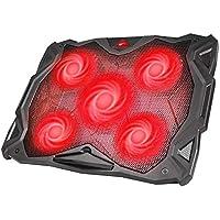 """Base Refrigeracion Portatil Ventilador Portátil Cooler Fan Refrigeracion Gaming con 5 Ventiladores Silenciosos y 2 Puertos USB, para Computadoras Portátiles de hasta 17 """"(F2068) (Rojo)"""