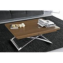 CALLIGARIS Table basse relevable extensible italienne MAGIC J en bois vernis et piétement en acier chromé