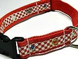 KonsumSchwestern Hundehalsband rot mit - LEBKUCHENHERZ und EDELWEISS - Breite: 2,5 cm - Länge verstellbar von ca. 33 cm bis ca. 57 cm - Größe: L - mit Steckschließe und D-Ring - Hunde-Halsband