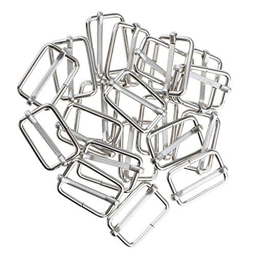 Gazechimp 20 Adjustable Metal Connector Buckles Adjustable Pieces Bag Making - Silver, 25x16x2.8mm
