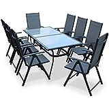 Alice's Garden - Salon de jardin en aluminium et textilène - Naevia - Gris, Anthracite - 8 places - 1 grande table rectangulaire, 8 fauteuils pliables