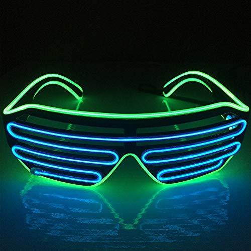 BAOJINTAO Blinds Mask EL DJ Drahtgläser, Lumineszenzdrahtgläser für Partybedarf,Green