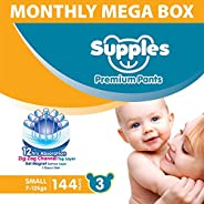 Supples Pant Style Diaper Mega-Box, Size 3, 7-12kgs, 144 Count
