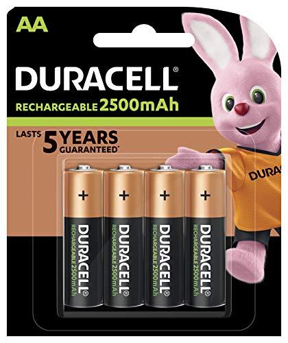 Duracell Wiederaufladbare Batterien AA 2500 mAh - 4 Stück - vorgeladen, Stay Starged Replace 2400