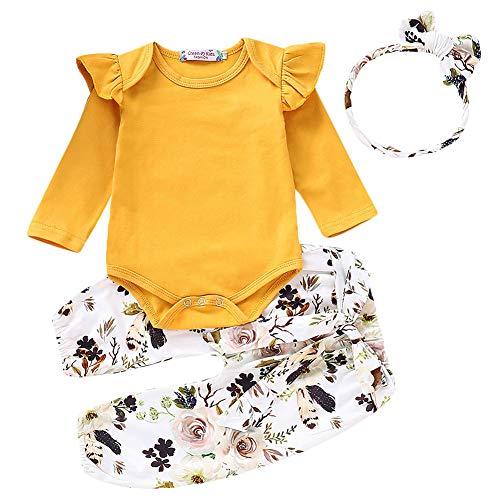 Neugeborenes Baby Lässige Kleidung Set Plissee Schulter Strampler Spielanzug + Floral Lange Hose + Stirnband 3 Stück Baby Outfits 0-18 Monate (0-3 Monate, Gelb) (Baby 0 3 Monate Outfits)