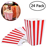 NUOLUX Popcorn Boxes Paper Popcorn Bags Holder White Red Striped Pack of 24