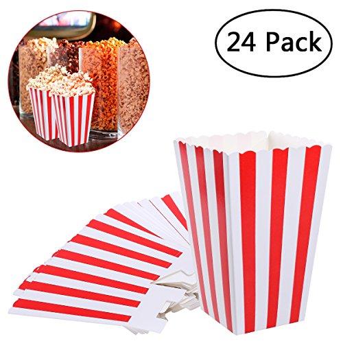 NUOLUX Popcorn Boxes,Popcorn Container Popcorn Kartons Papiertüten,Rot 24 Stück