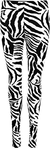 Style Tartan pour femme-Mode Legging effet mouillé Zebra Animal Print Black/White.