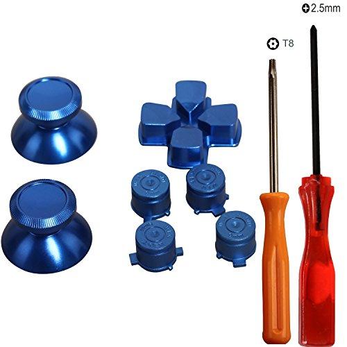 eJiasu Metall Aluminium Bullet Knöpfe + Kreuzschlüssel ABXY Knöpfe + Thumbsticks Daumengriff Chrom D-Pad Button Set für PS4 DualShock 4 Controller (Ein Set Blau) (Standard Kugelschreiber Cross)
