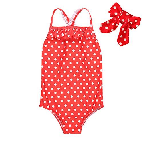 HCFKJ Bademode Baby Mädchen Kleinkind Kinder Strap Geraffte Dot Badeanzug Strampler Haarband Set Geraffte Dot