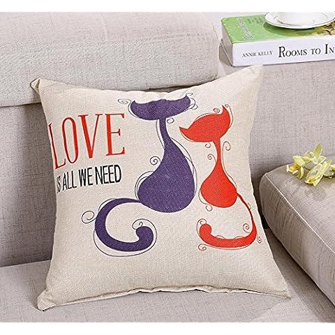Cuscino decorativo cotone Blend Lino Piazza Throw Pillow casa e l'ufficio con rivestimento sfoderabile , lovers cat