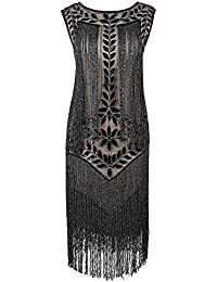 PrettyGuide Women's 1920s Charleston Dress Sequin Full Fringed Deco Flapper Dress