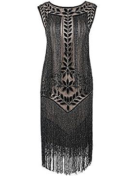PrettyGuide Damen 1920er Vintage Paillette Alle Fransen Inspired Flapper Kleider