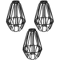 Cliettilw Lot de 3 cages de lampe en fer, ventilateur de plafond et cache-ampoules, style vintage industriel