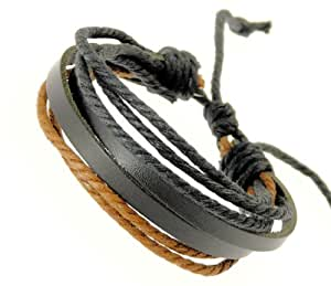 Black Leather Double Strap Wristband With Black & Brown Coloured Cords Leather Bracelet / Leather Wristband / Surf Bracelet - 28