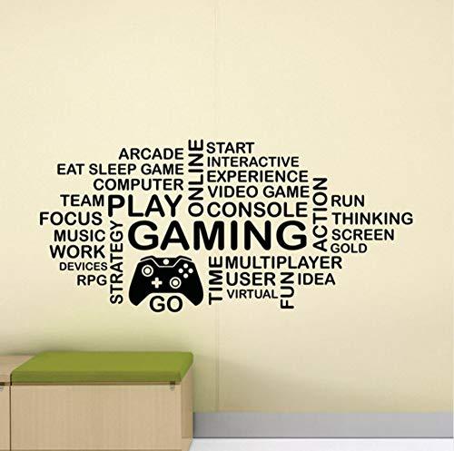 Spiel Wandtattoos Wort Wolke Video Game Player Kinder Ps4 Xbox Controller Unterschrift Poster Vinyl Aufkleber Spiel Raumdekoration Spiel Wandmalerei 57X122 Cm (Video-wort-spiele)