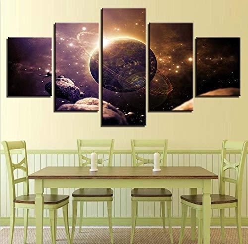mmwin Wohnzimmer Wanddekoration HD Bilder Druck Modulare 5 Stücke Planet Erde Universum Landschaft Pop Art Leinwand s