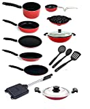 #10: Kumaka Premium Quality 15 Pieces 2.6mm Thickness Non-stick Cookware Set with Lid and spoons Cookware Set