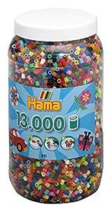 Hama 211-68 - Perlas de Planchar (tamaño Mediano, Aprox. 13.000 Unidades en Lata, 52 Colores Diferentes