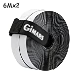 GIMARS [ 6M ] Klettband selbstklebend, Flausch & Haken, 20mm breit, inkl. ein Kabelbinder mit Schnalle, schwarz