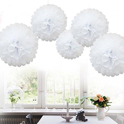 SevenMye 5Stück Seidenpapier-Dekorationen für Hochzeitsempfang, Geburtstagspartys (10cm/15cm/20cm, 13Farben erhältlich), weiß, 15 cm