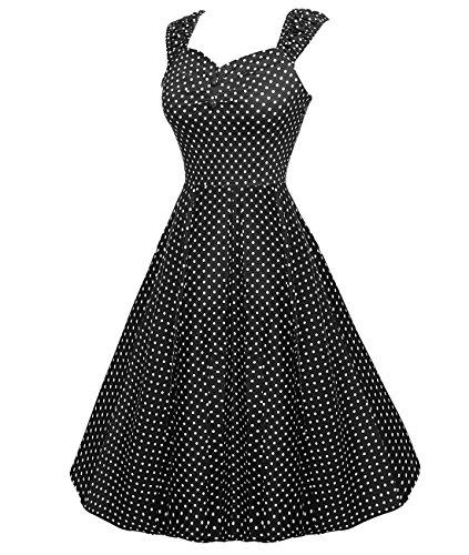 Bbonlinedress modèle 9 Vintage rétro Audrey Hepburn robe de soirée cocktail années 50 forme princesse Black White Dot
