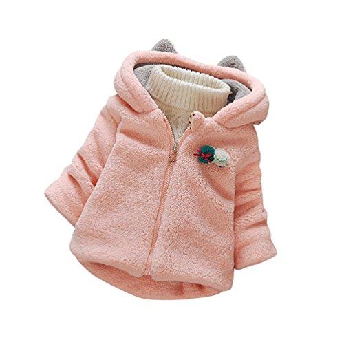 YOUJIA Bambine Ragazze Caldo Cappotto con Cappuccio di Coniglio Giacca in pile Bimbi (Pink, 80cm)