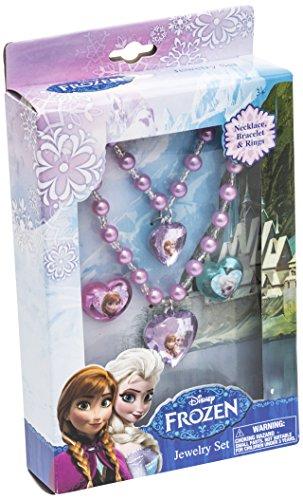 Disney Frozen 755062 - Schmuckset mit Perlenhalskette, Perlenarmband und 2 Ringe, 12 x 4 x 18 cm