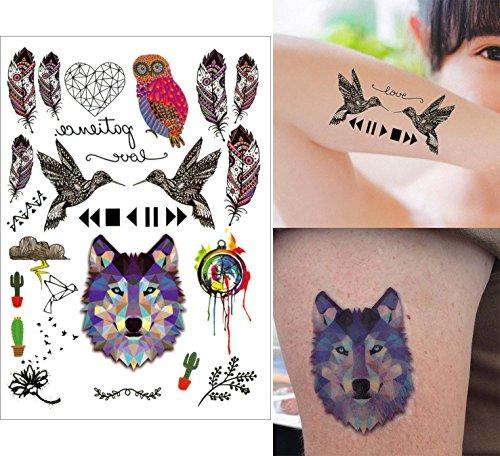 COKOHAPPY 5 Blätter Temporäre Tattoo - Woodpecker Wolf Feder Eule Feder Blume - Flash Tattoo Körper Aufkleber Art