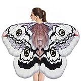 Mitlfuny Kostüm Damen Fasching Schmetterling Weicher Gewebe Flügel Schal,Weiche Stoff Schmetterlingsflügel Schal Fee Damen Nymphe Pixie Kostüm Zubehör