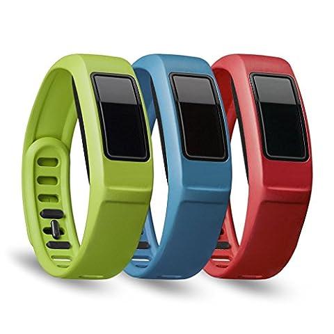 Dokpav® 3pcs Garmin Vivofit 2 Bracelet de Remplacement avec le Métal Fermoir pour Garmin Vivofit 2 Activité Tracker (L) - Rouge + Bleu + Vert