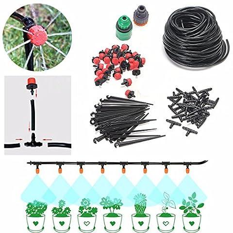 Micro Irrigation Système D'égouttement 25 M pour l'irrigation des Plantes Systeme Du Distributeur D'eau compte-gouttes Avec 30 Dripper & Fixe Potence, 29 T pour Les Articulations, 2 Robinet Fittings DIY Pour Jardin Serre